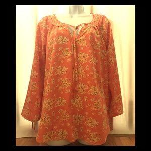 Lauren Conrad floral BoHo blouse xl
